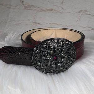 White House Black Market red Leather Belt. Medium